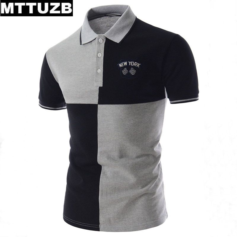 d35e65658a2f MTTUZB men fashion short sleeve patchwork polo shirts man casual summer tops  male summer tees men s