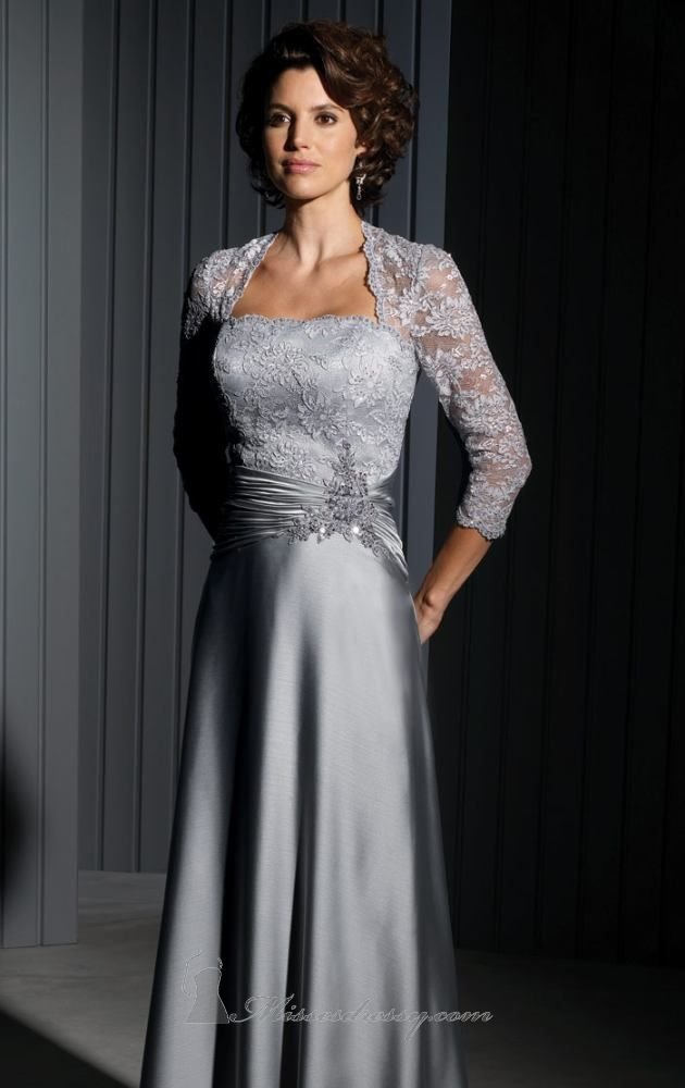 Lace sleeve mother of the groom dresses can be elegant for many occasions.  This formal gown was made in a platinum silver color. aa938d598349