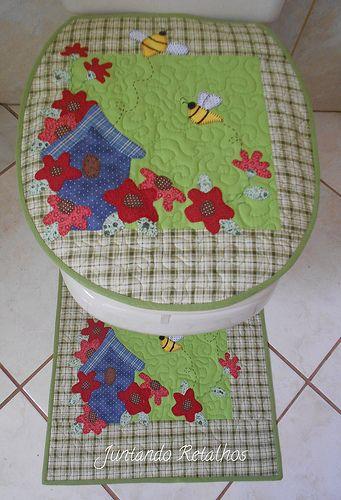 Juego de ba o toallas patchwork juegos de ba o apliques for Apliques para toallas