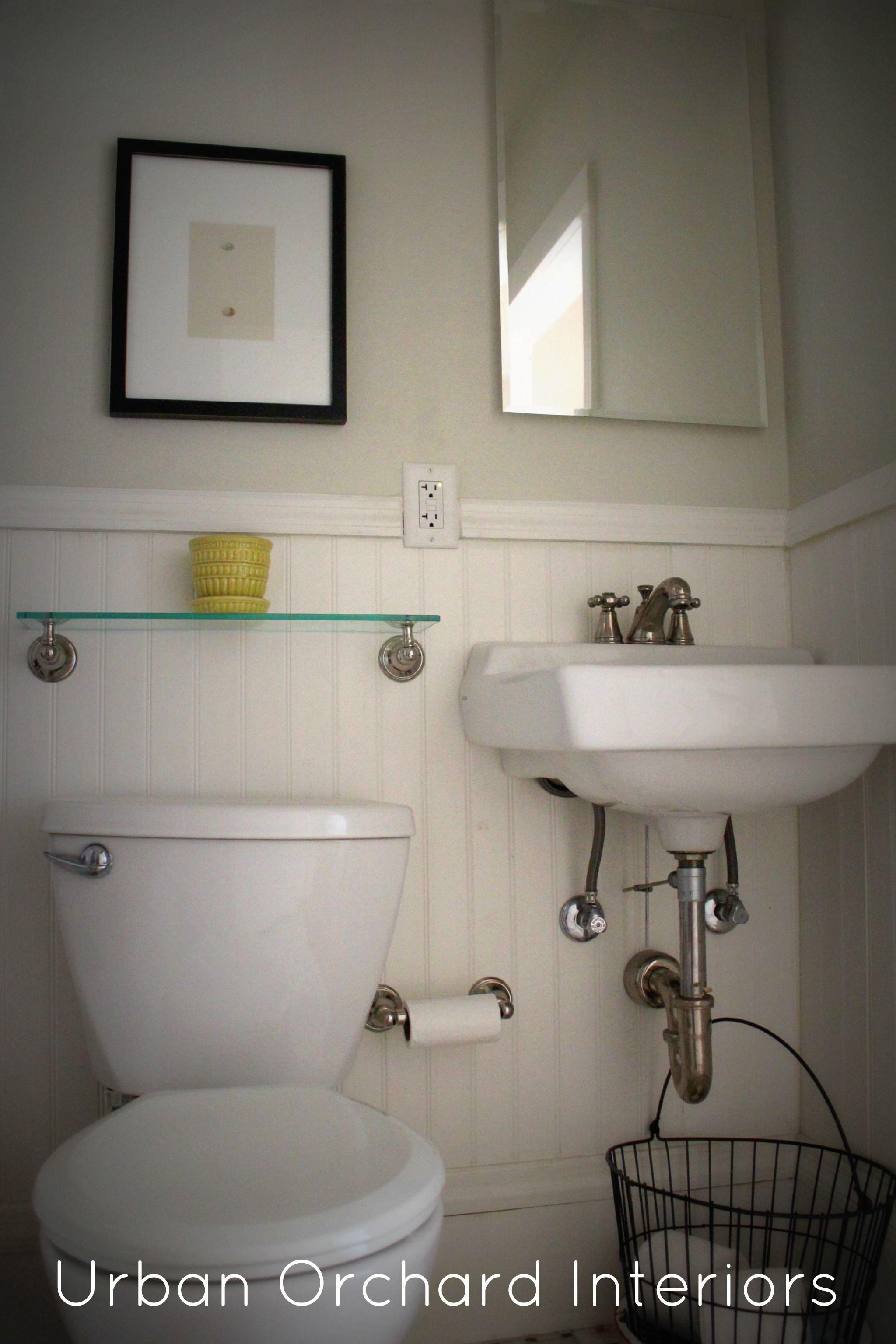 Kids Bathroom Gray Wall Paint Hanging Washbasin Stainless Steel Faucet Head Glasses Shelving Mirror Toilet Paper Holder Tissue Ceramic Flooring Tile A