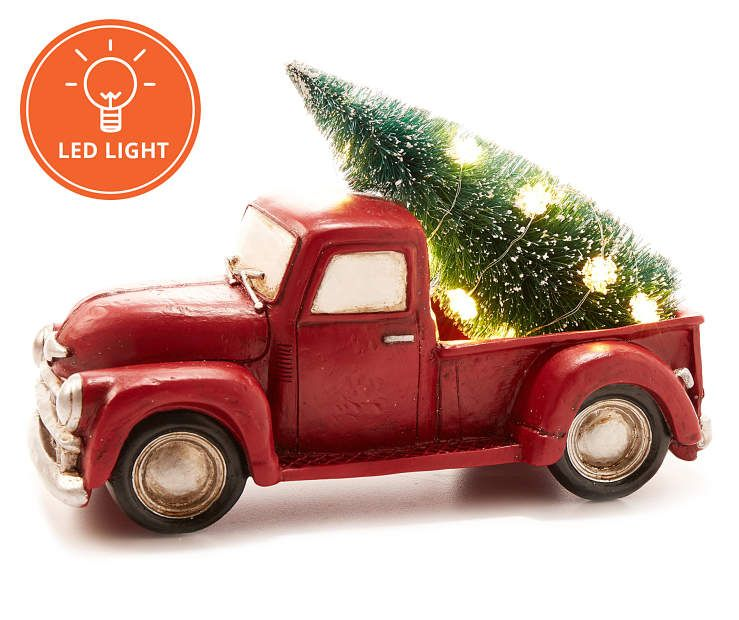Rustic Cottage Collection Red Pick Up Truck with LED Tree