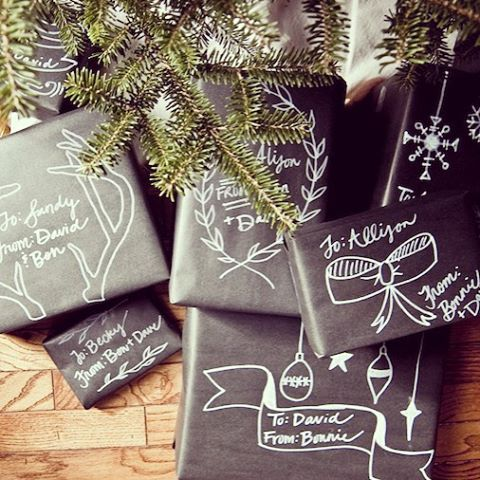 Love this idea - Create your own gift wrap using chalkboard paper...fun for the kids, too. Just make sure to use chalk pens so the art doesn't smear! Kits avail on Amazon.