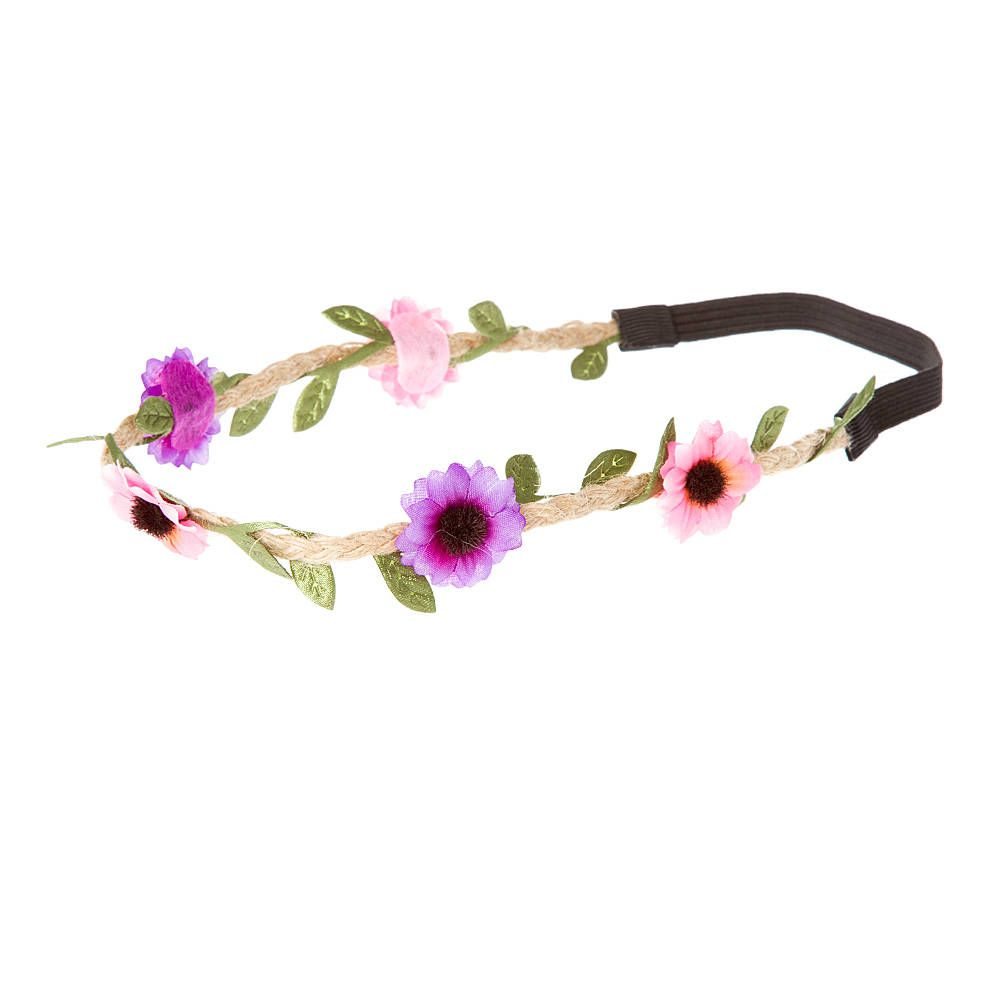 Pink and Purple Daisies on Braided Twine Headwrap | Claire's