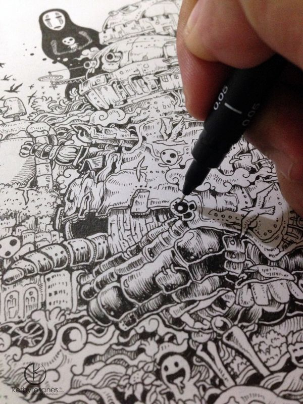 Hayao Miyazaki Doodle Tribute By Kerby Rosanes Via Behance