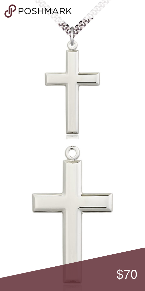 Sterling Silver Cross Pendant On A 24 Inch Chain Silver Cross Pendant Sterling Silver Cross Sterling Silver Cross Pendant