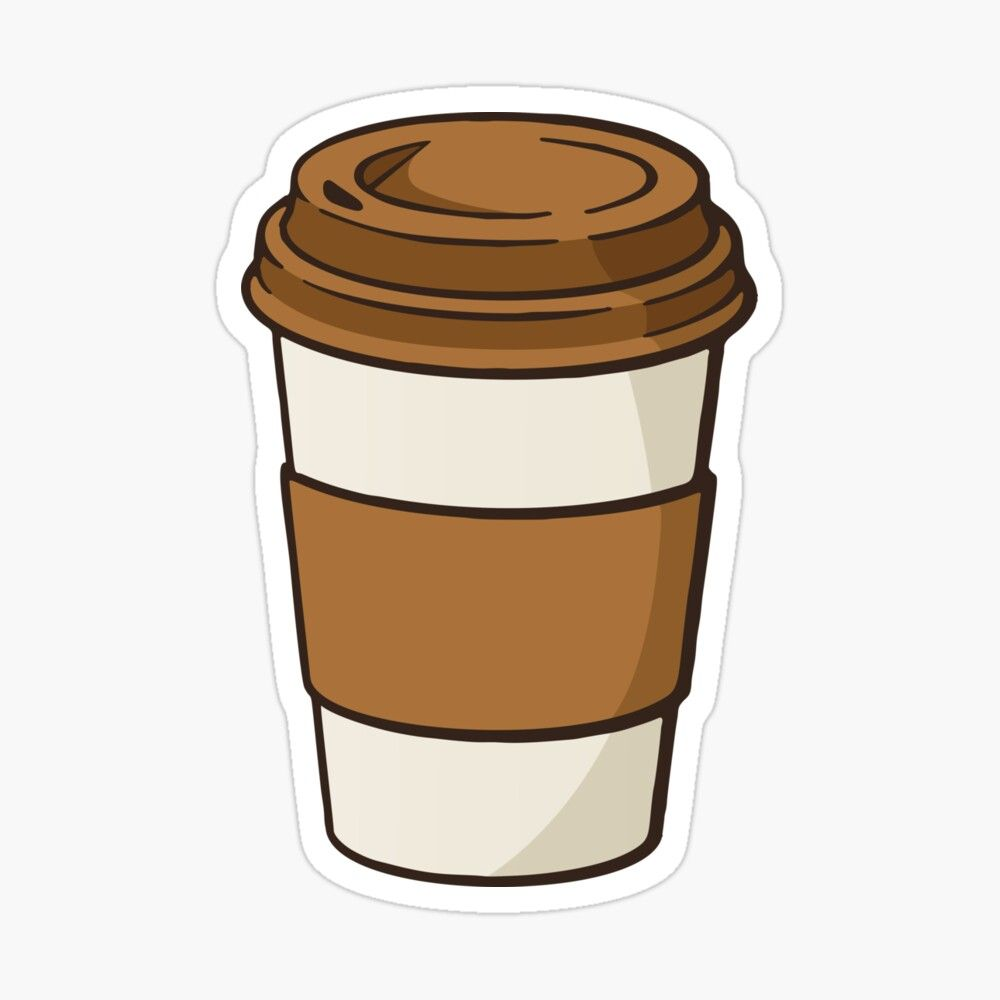 Hot Coffee In A Paper Cup Sticker Aesthetic Stickers Art Design Diy Vsco Tumblr Coffee Cup Paper Coffee Stickers Coffee Cartoon Coffee Cup Drawing