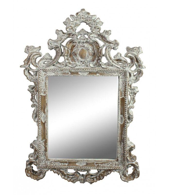 Miroir mural en bois blanc avec moulures maison petits objets de d coration pinterest for Grand miroir blanc baroque