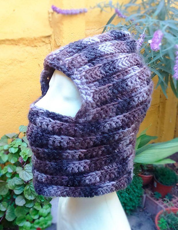 Super abrigadora Pasamontañas/Capucha de lana, tejido a mano ...