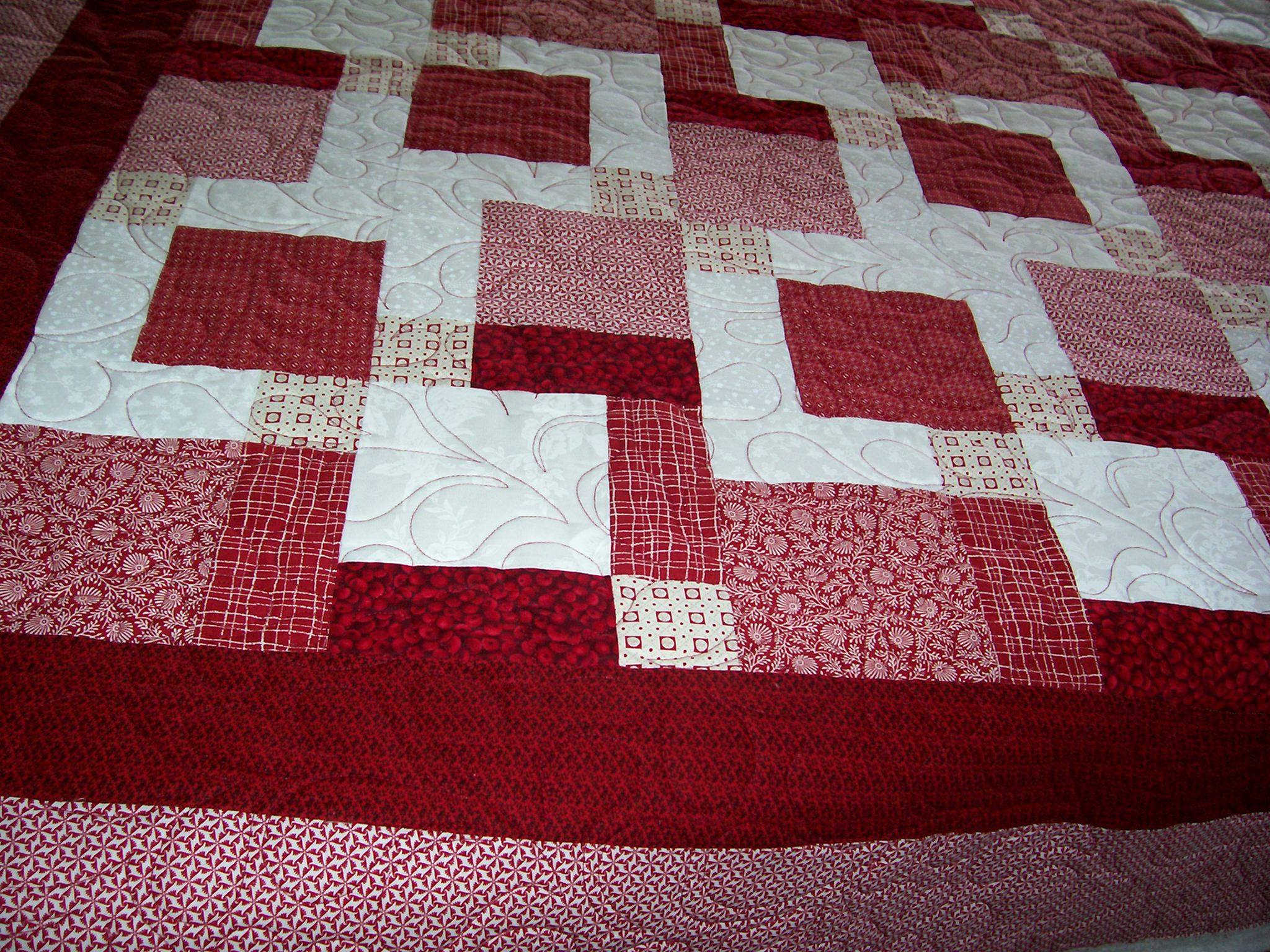 Red and White Tossed Nine Patch by Eleanor Burns of Quilt in a Day ... : tossed nine patch quilt pattern - Adamdwight.com