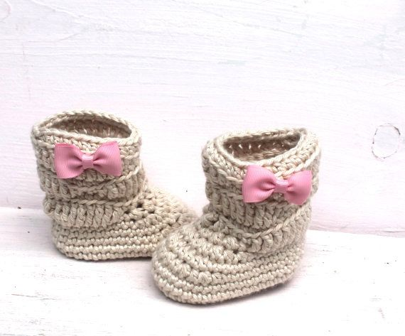 Baby Booties, Baby Girl Booties, Crochet Baby Booties, Baby Girl Boots