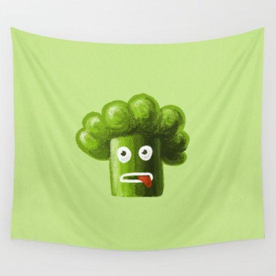 Stressed Out Broccoli wall tapestry by Boriana Giormova