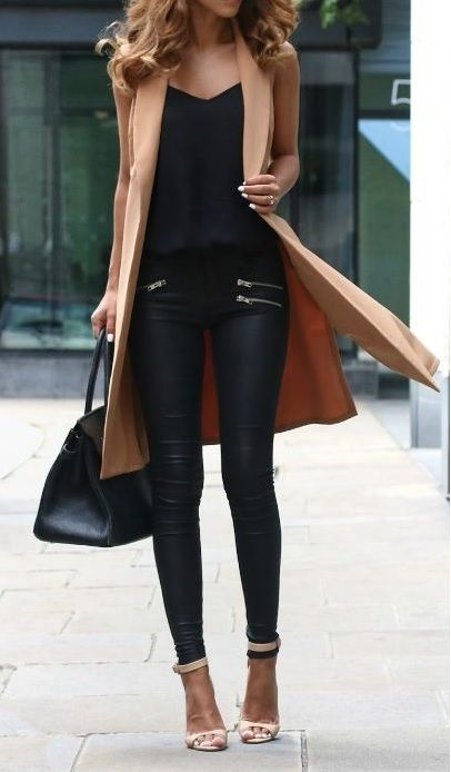 Black leather + camel coat. Amazing! -PEACH
