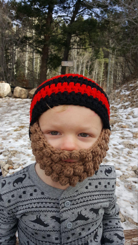 Black And Red Crochet Beard Beanie Toddler Size by KalisKreations13 on Etsy #crochetedbeards