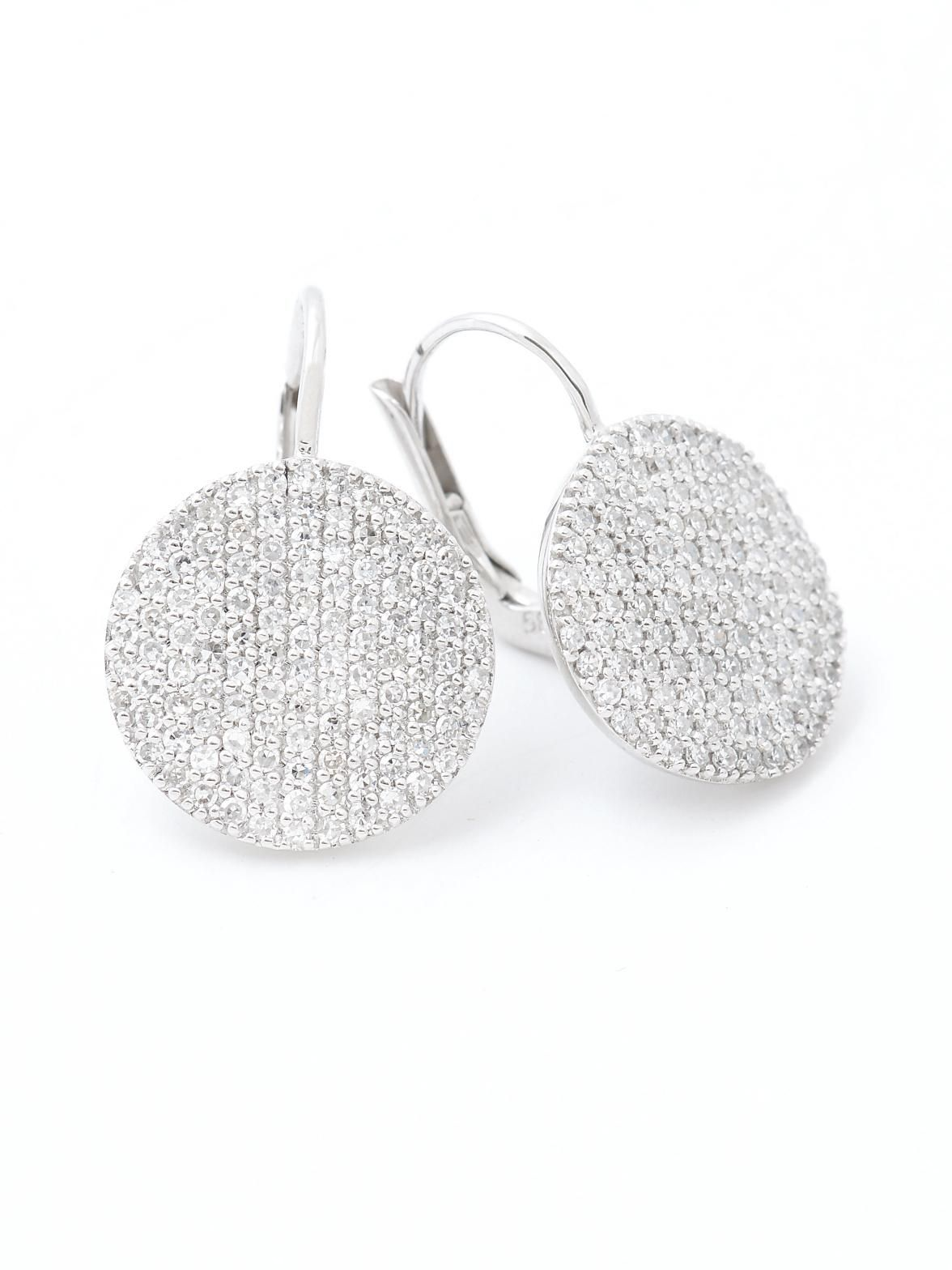 Phillips Frankel 14k White Gold Pave Diamond Disc Earrings At London Jewelers