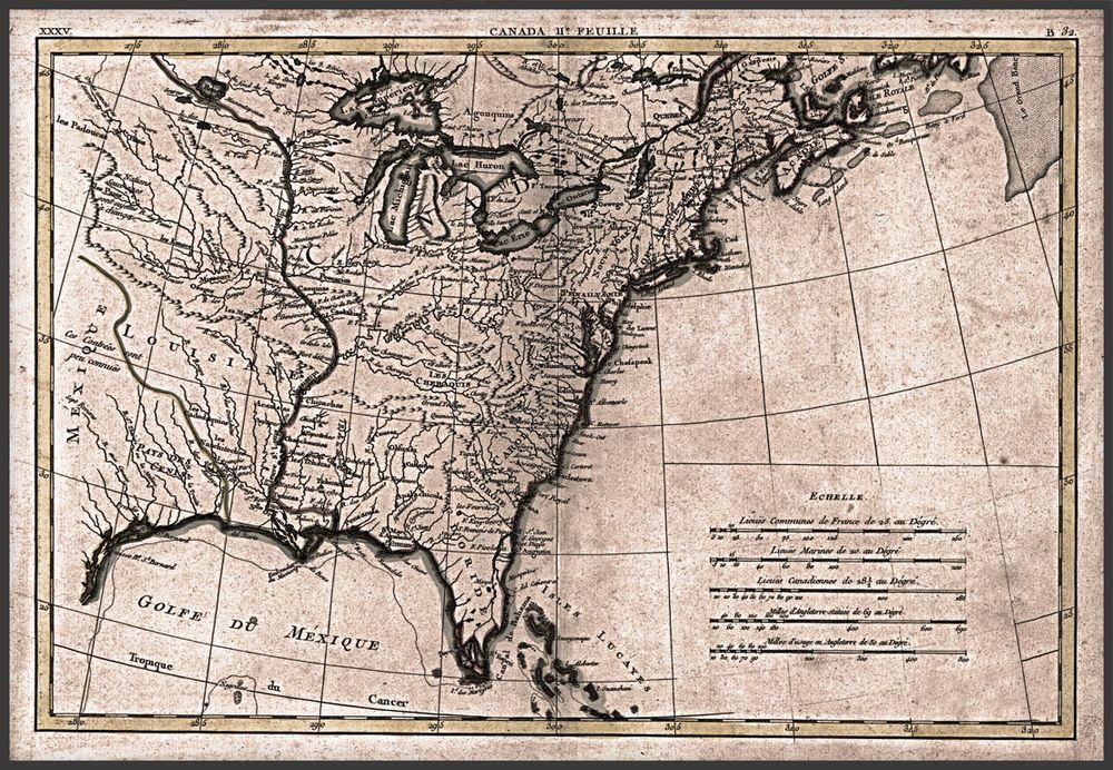 1776 United States Canada America Map Antique Decor 24 X16