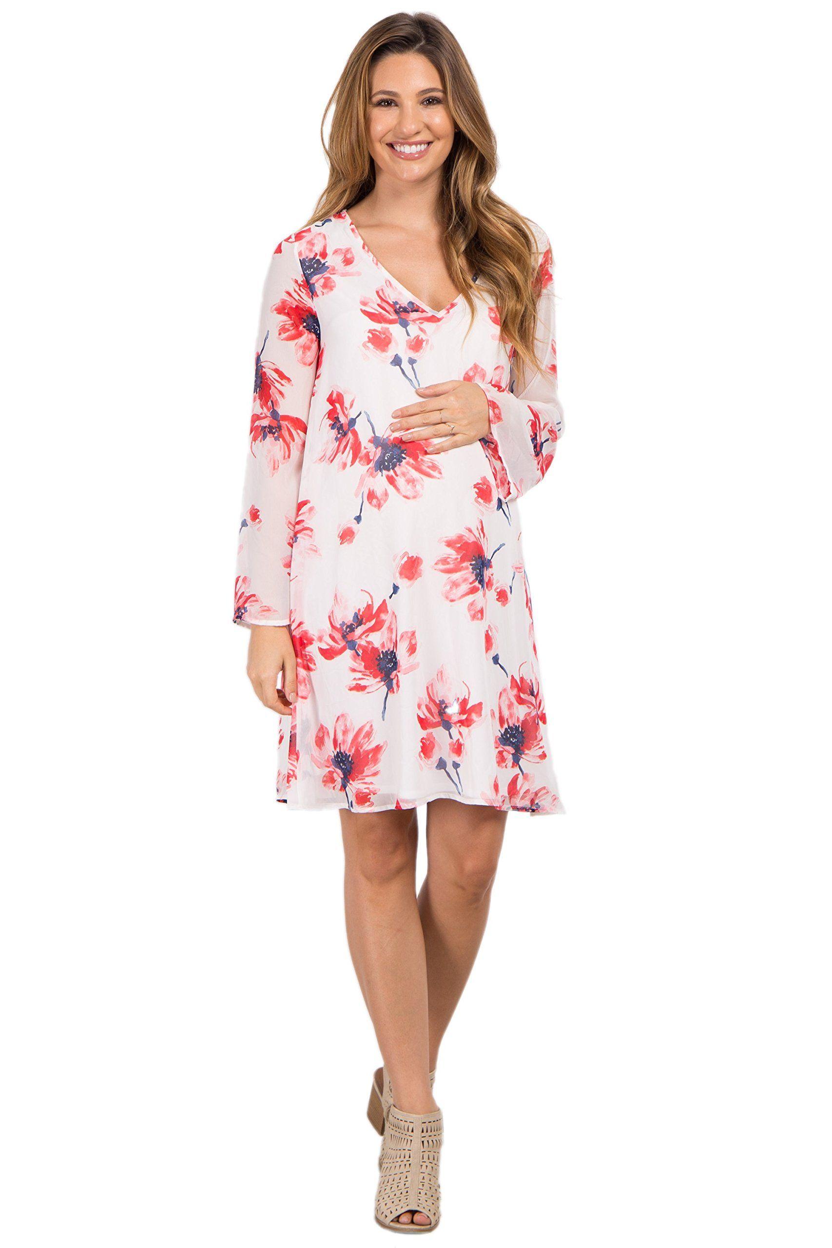 5473c3da0dcfd Maternity Fashion - PinkBlush Maternity Ivory Floral Chiffon Maternity Dress  Large -- Click the picture