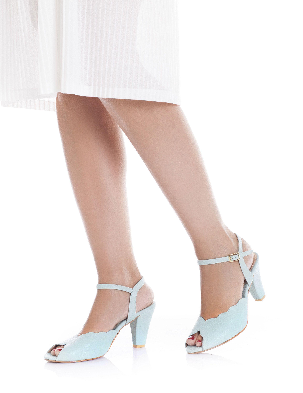 59dafcc0ffb60 Adina Vegan Bridal Shoes, Light Blue High Heel Wedding Sandal with a ...