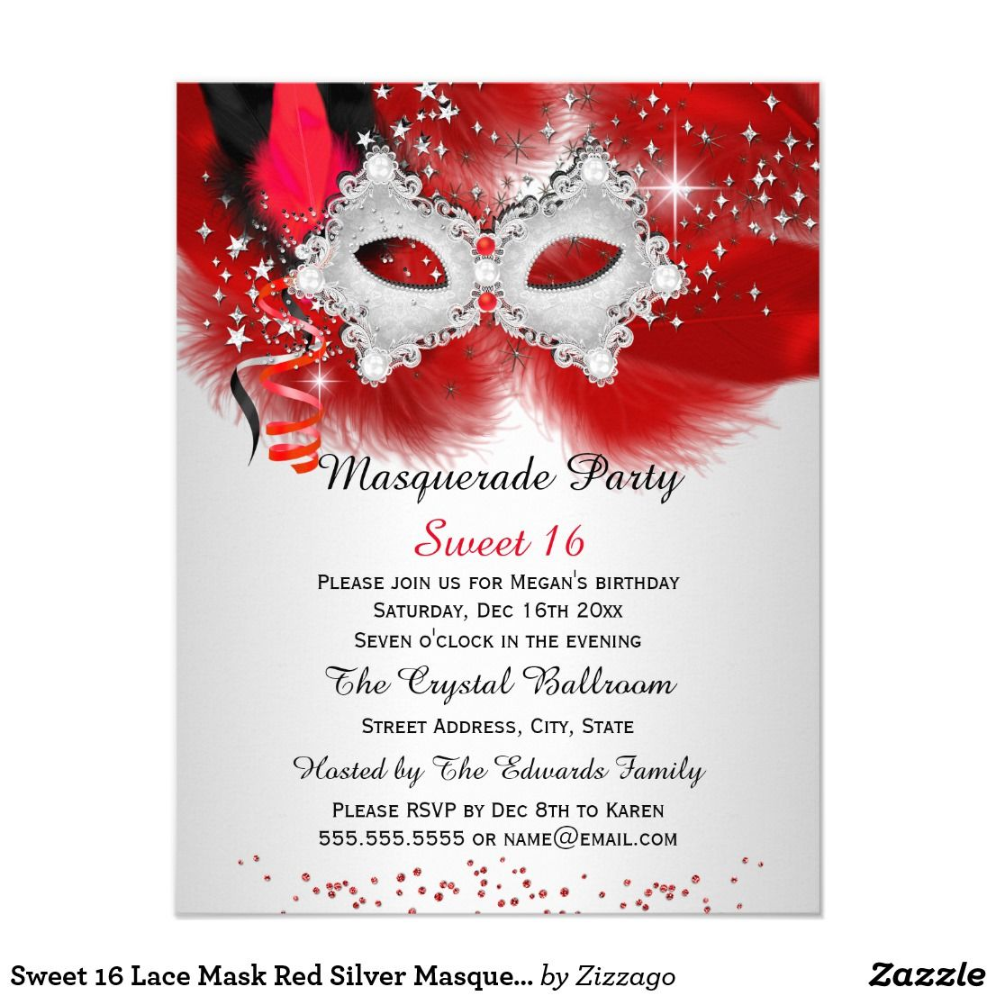 Sweet 16 Lace Mask Red Silver Masquerade Invitation | Pinterest ...
