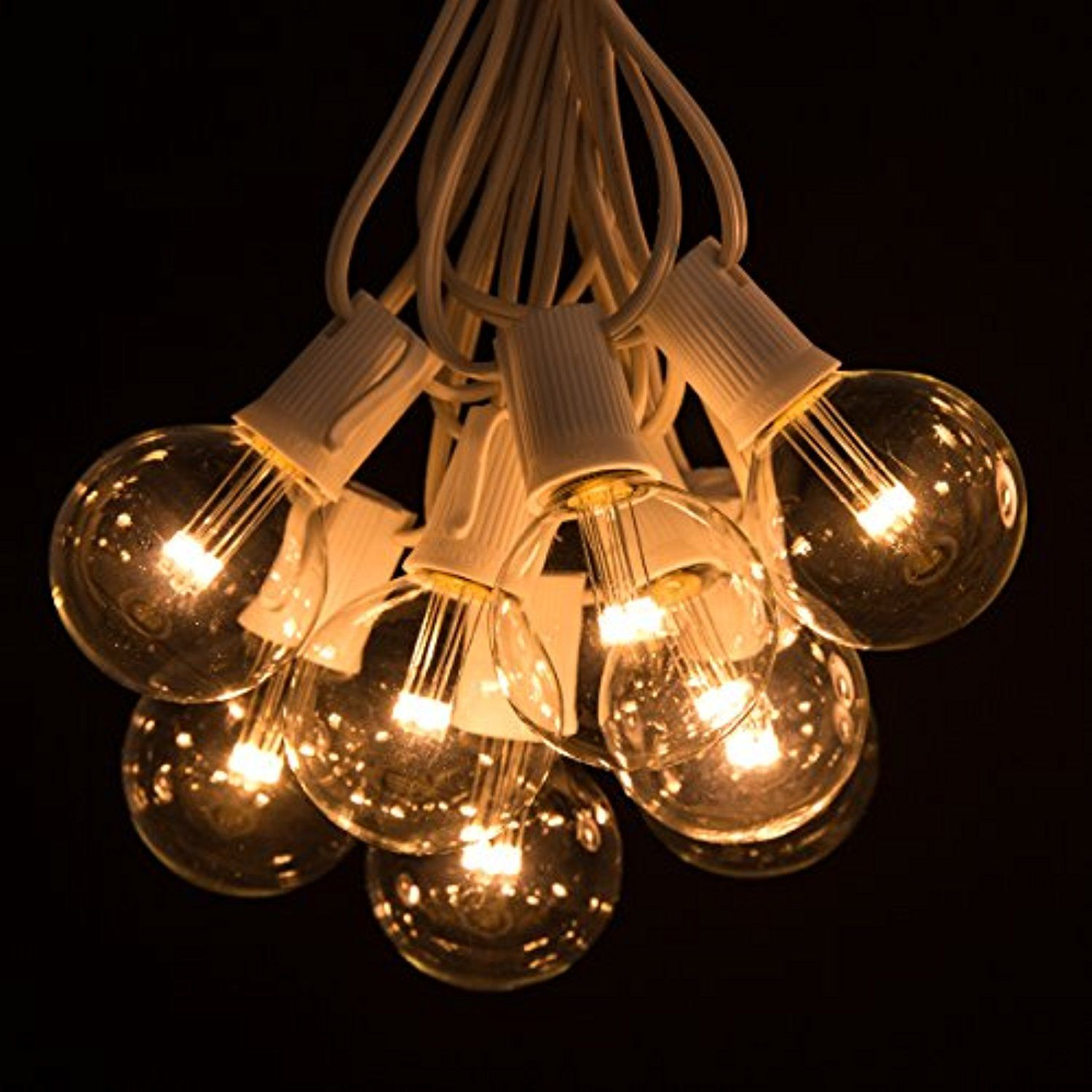 """25 Foot LED Warm White Outdoor Globe Patio String Lights ¢€"""" Set"""