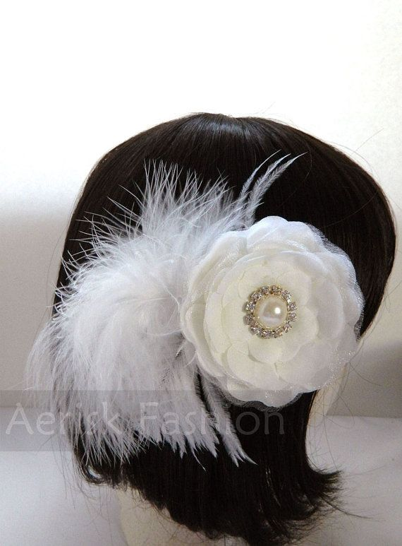 White Ostrich feather and flower fascinator with door CastleMemories, $18.00