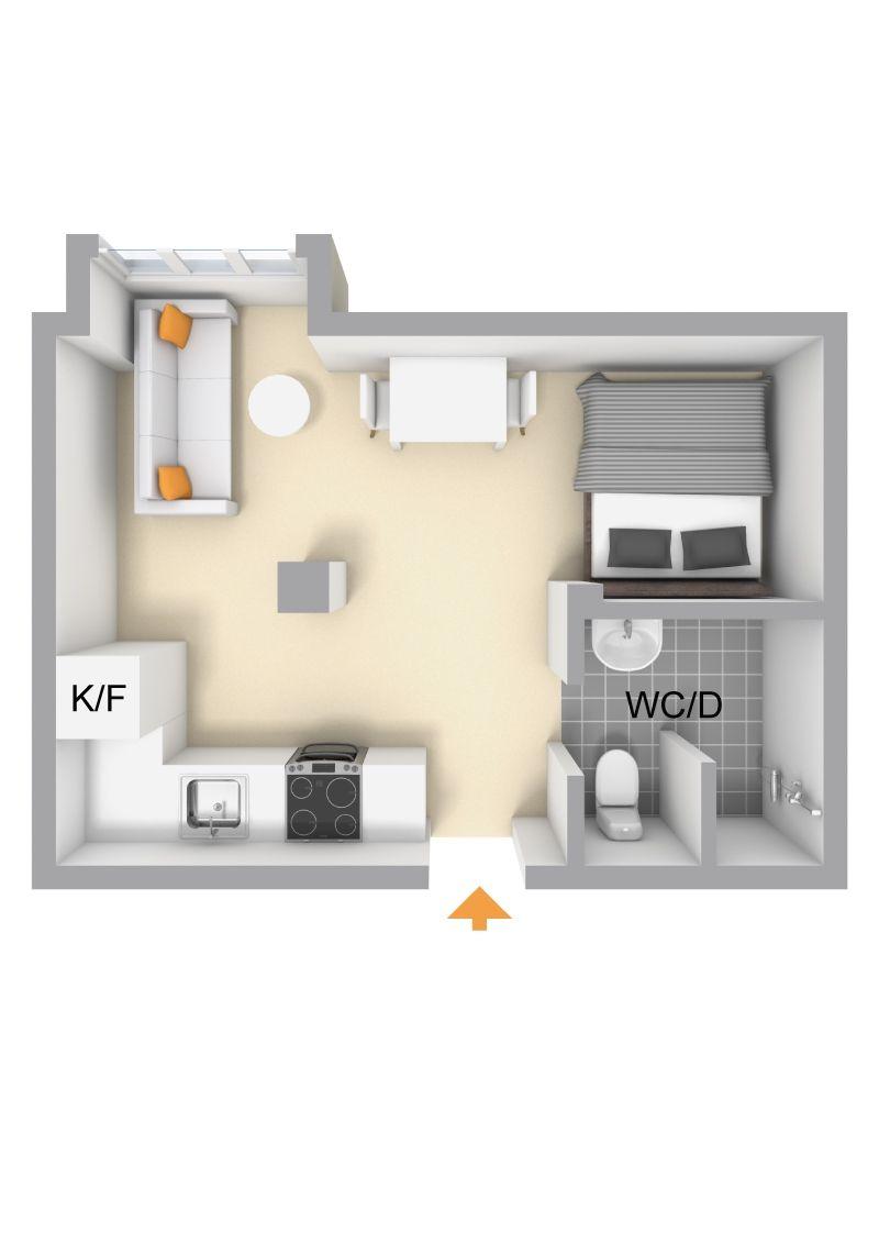20 square meters studio apartment small apt interior design pinterest square meter. Black Bedroom Furniture Sets. Home Design Ideas