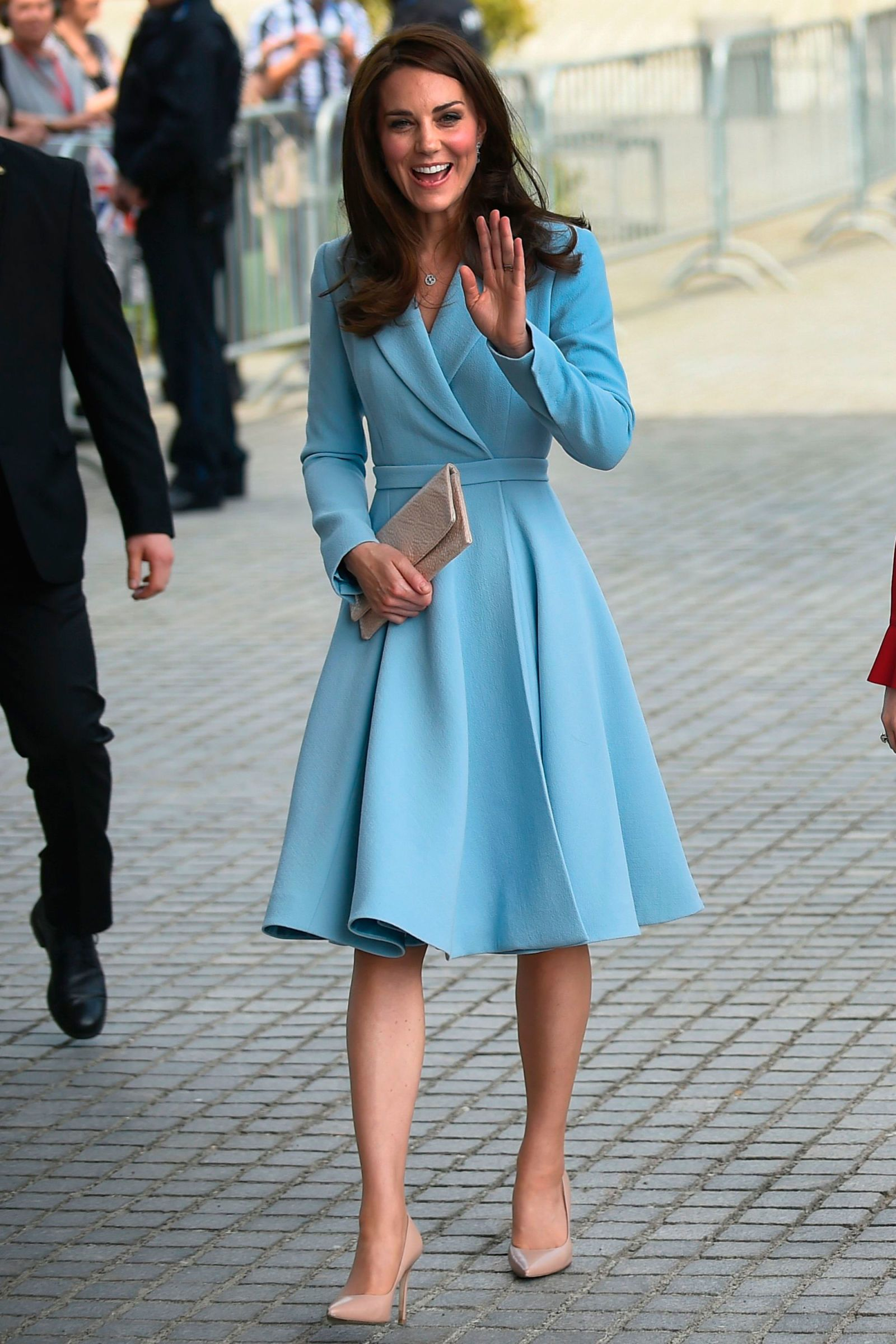 9d73c8a36c15 11 May The Duchess of Cambridge embarked on her second solo overseas tour  in Luxembourg wearing a powder blue Emilia Wickstead coat, Kiki McDonough  earrings ...