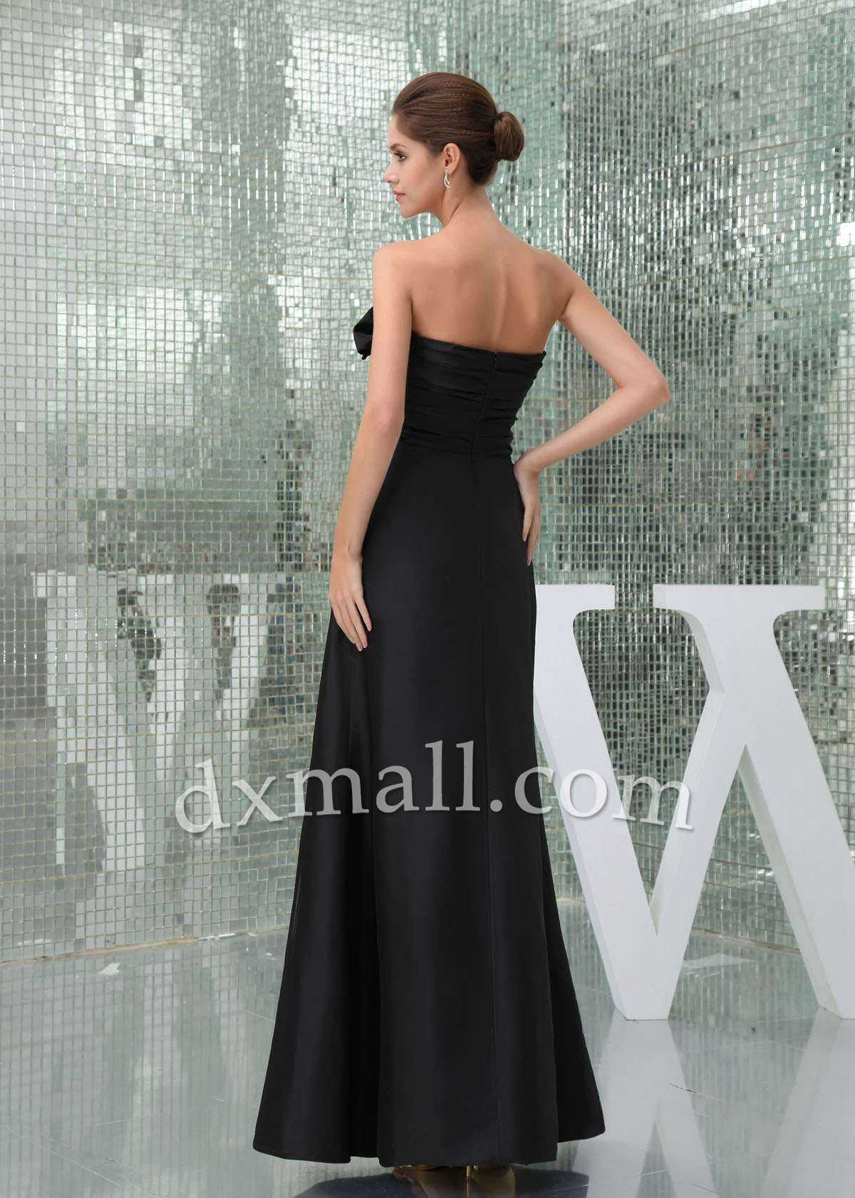 Dress for wedding party in winter  Empire Winter Formal Dresses Sweetheart Ankle Length Satin Black