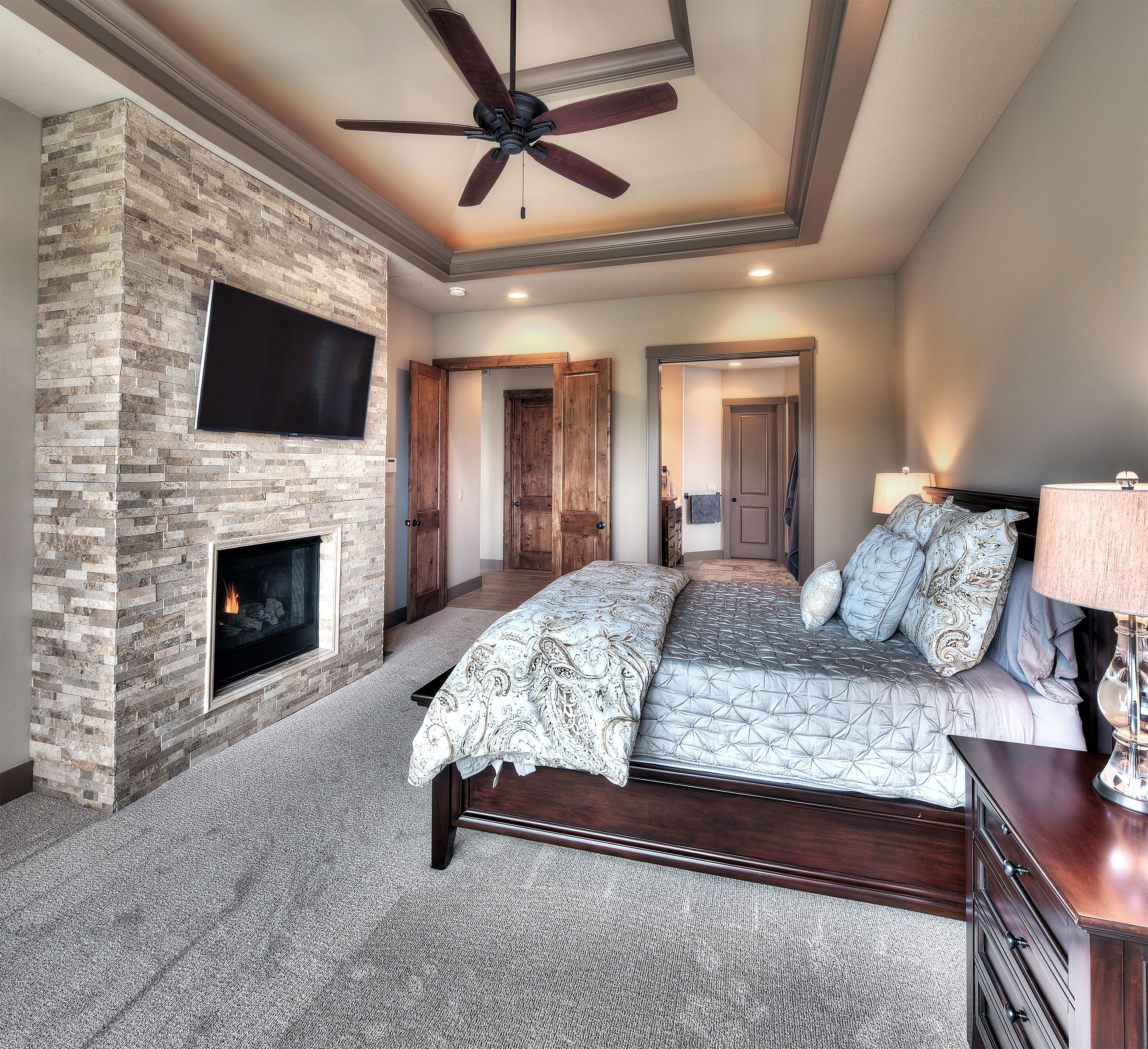Best Master Bedroom Vaulted Ceiling Stone Fireplace Access 640 x 480