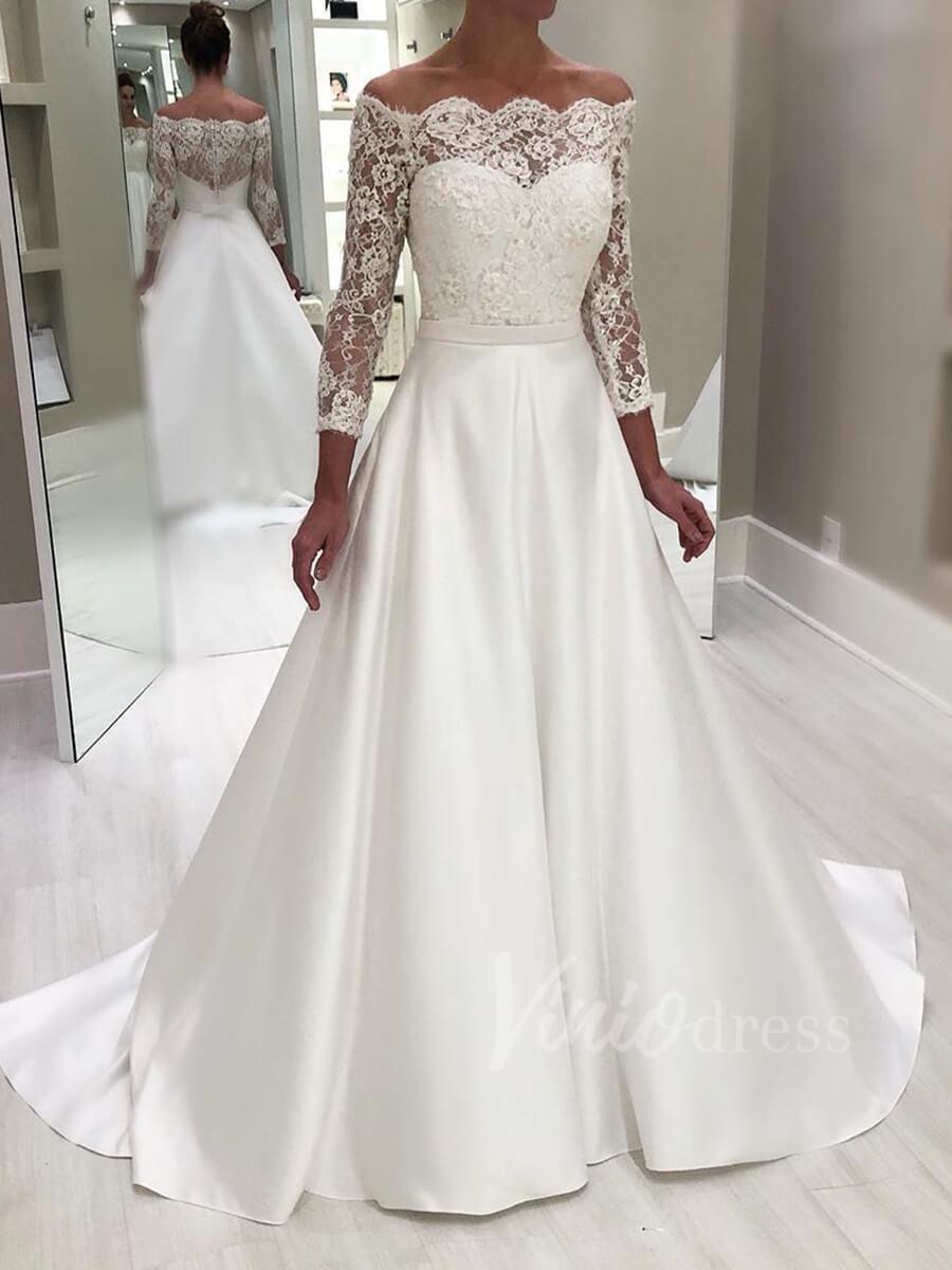 Elegant Long Sleeve Wedding Dresses Simple Satin Bridal Dress