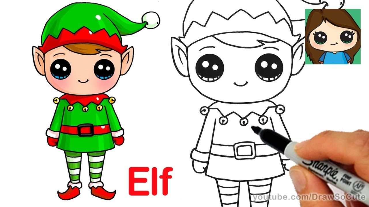 How To Draw A Christmas Elf Easy And Cute Kawaii Christmas Elf Drawings Christmas Drawing