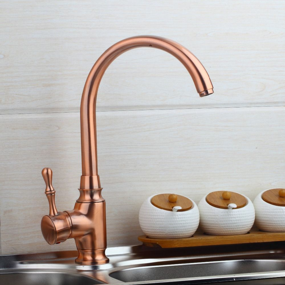 This Stylish Copper Tap The Finish Is Copper And The Material Stainless Steel Has One Hole A Single Handle A Chrome Kitchen Faucet Copper Kitchen Mixer Taps