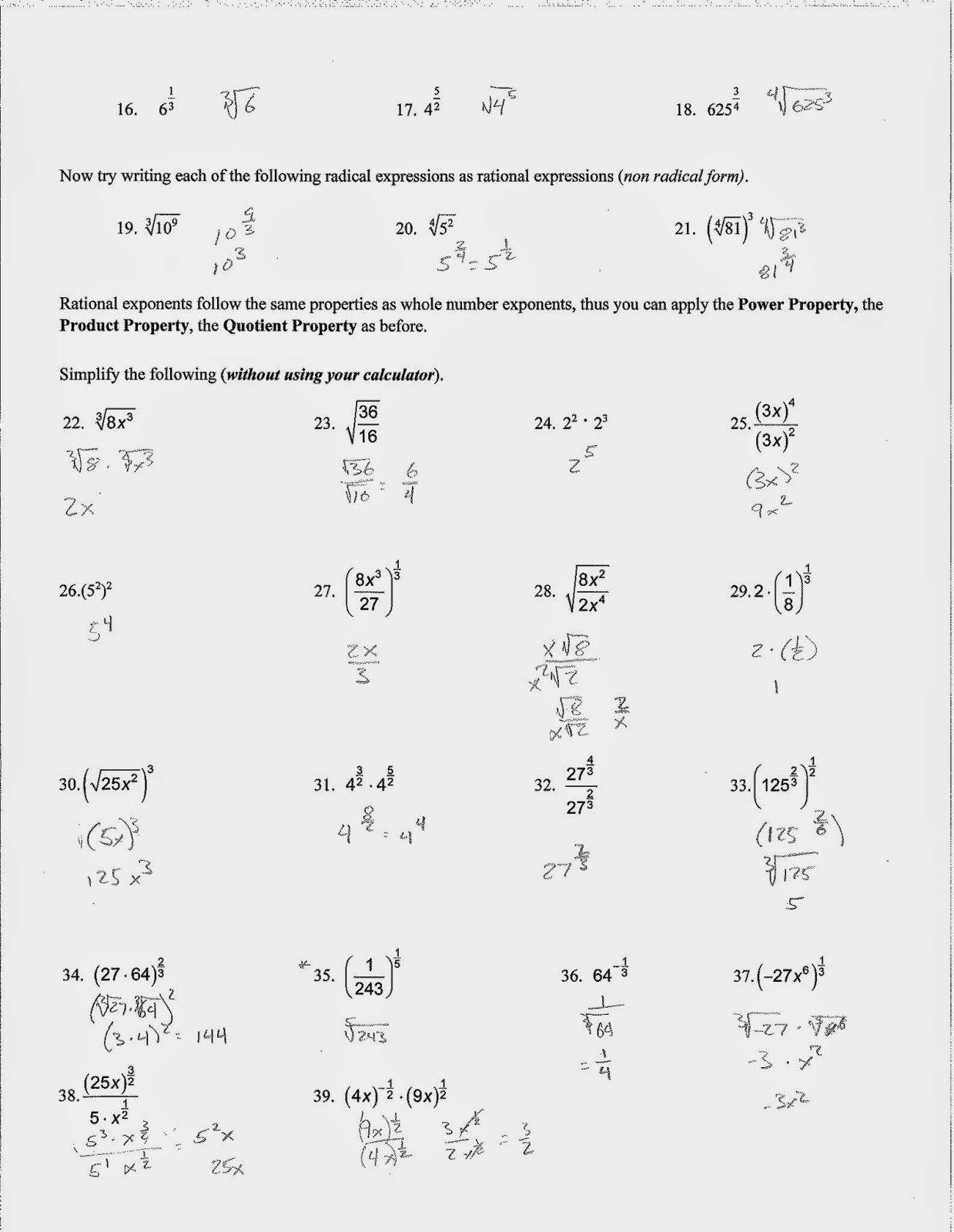 50 Radicals And Rational Exponents Worksheet In With