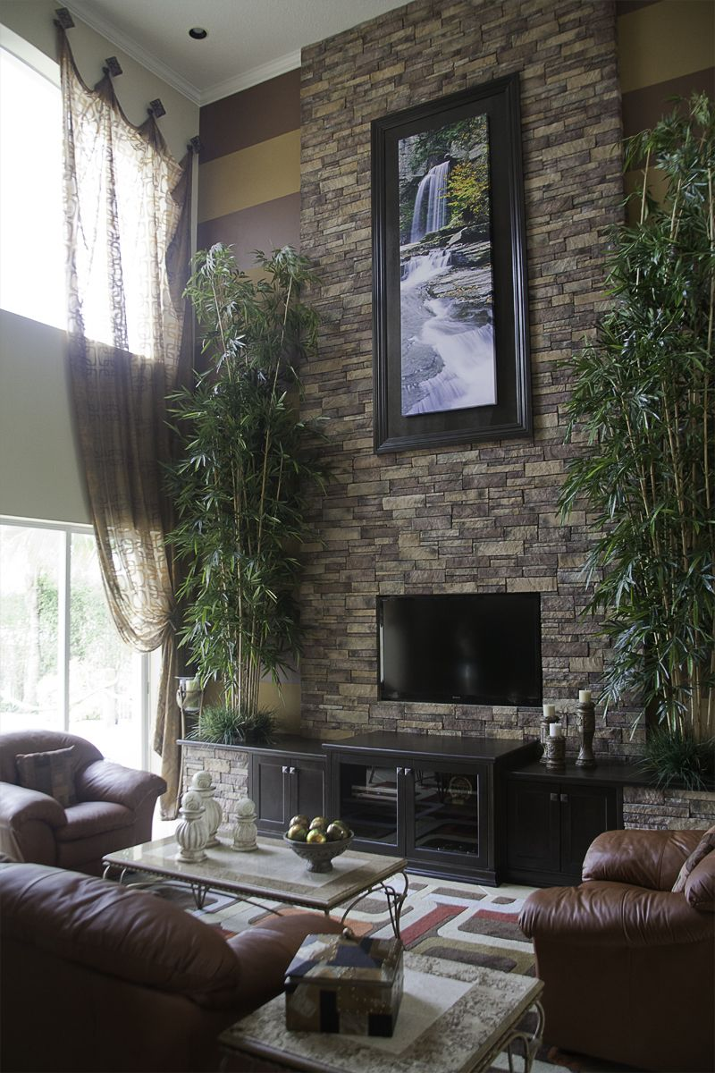 Contemporary Asian Living Room Design Cheap Area Rugs For Stacked Stone Wall Bamboo Trees