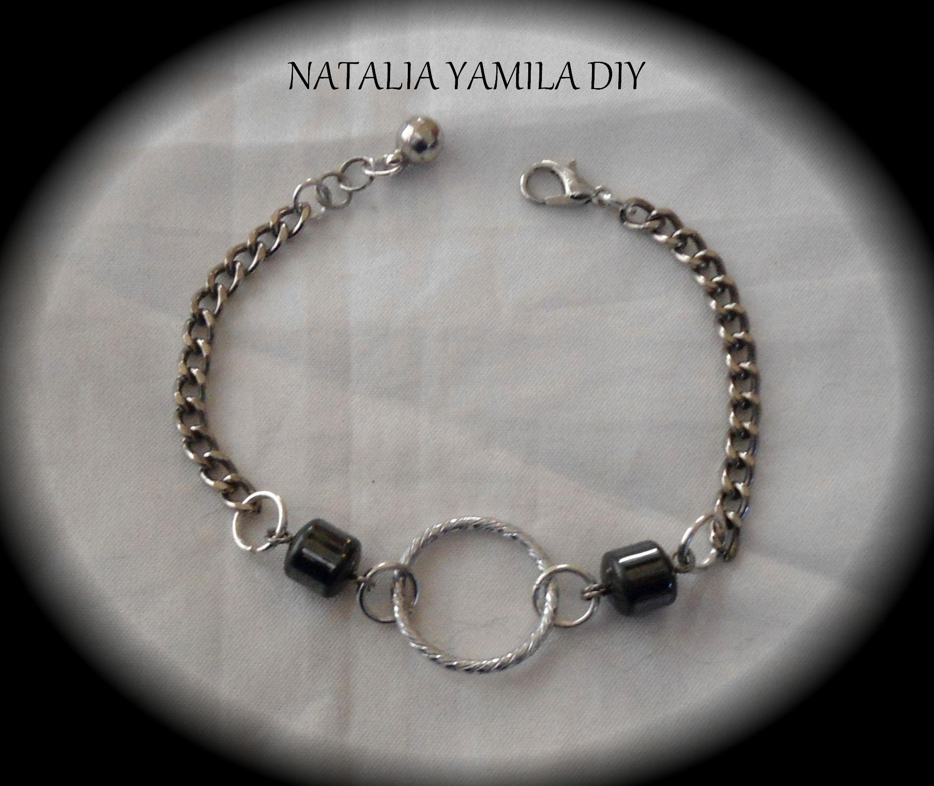 pulsera artesanal cadena y hematite handmade bracelet beads hematite chain tutorial https