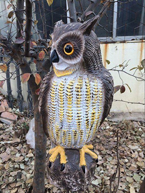 Zilin Plastic Owl Decoy Bird Deter Scarer Patio Lawn Garden