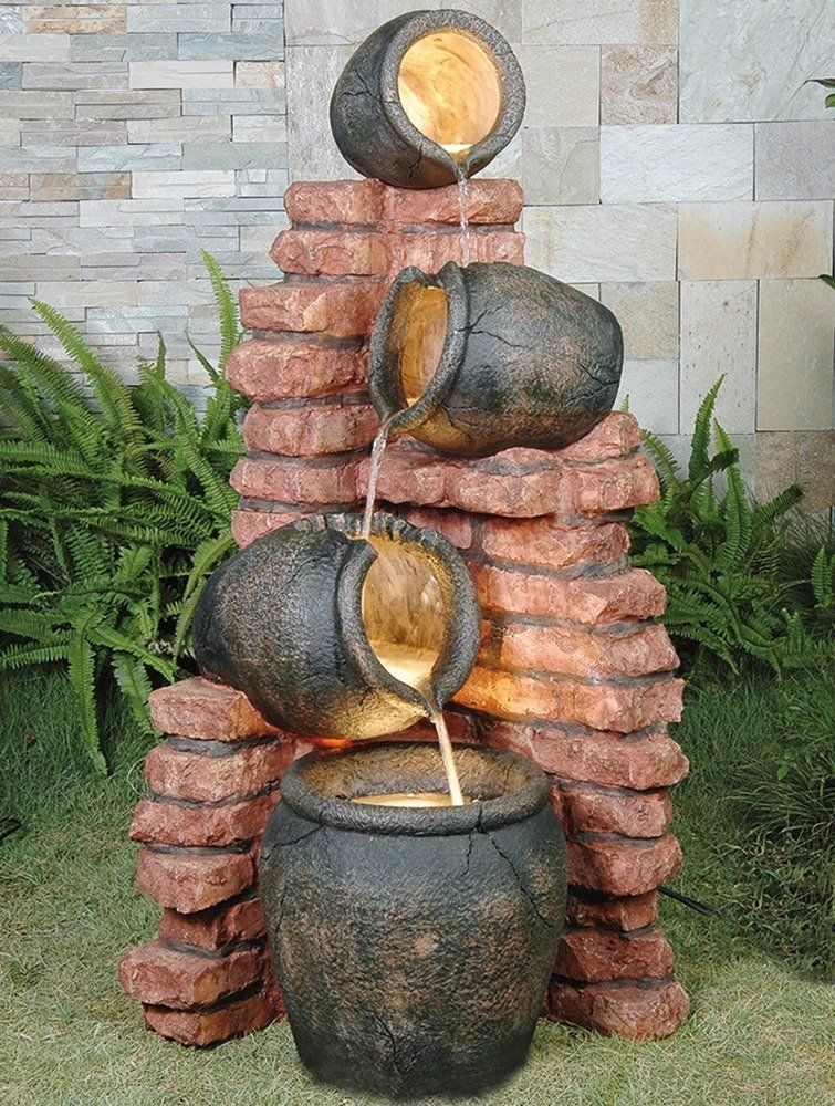 4 Pots On Brick Fountain Water Feature Diy garden