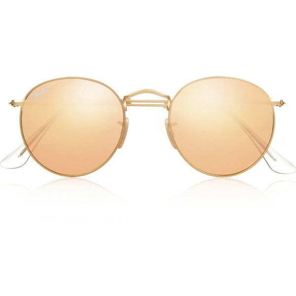 Ray-Ban Round-frame metal mirrored sunglasses found on Polyvore