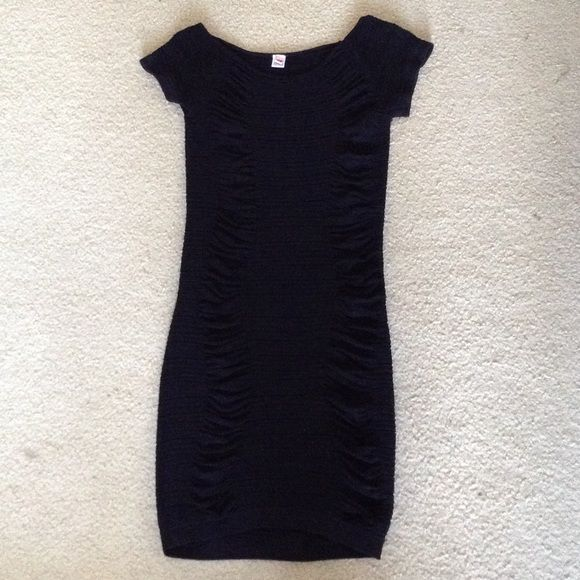 Black, fitted open back dress sz M/L Black, form-fitting ribbed dress. Open mid-lower back. Size M/L New, but no tags Dresses Backless