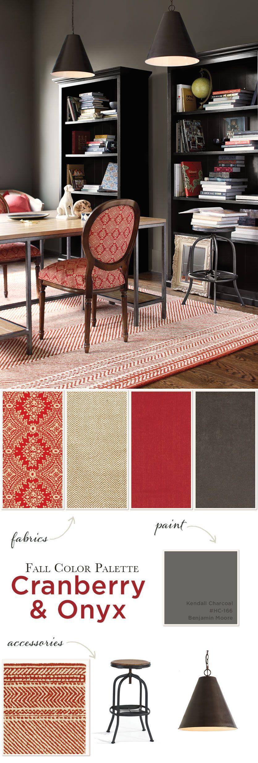 Fall Color Palette: Cranberry & Onyx   Onyx colour, Charcoal sofa ...