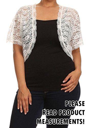 Juniors Womens Plus Size Short Sleeve Lace Bolero Shrug Cropped ...