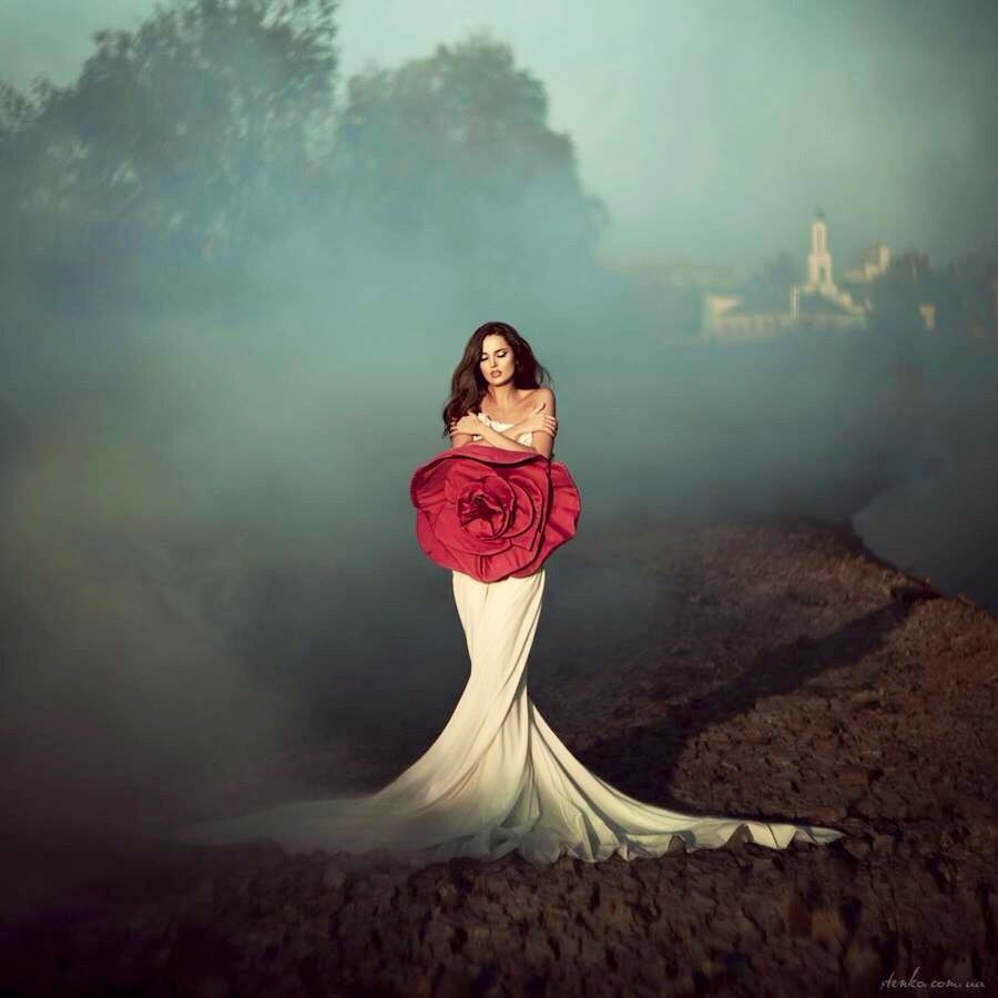 Woman wearing white Gown with red rose art   Glamor photography, Fashion photography, Glamour