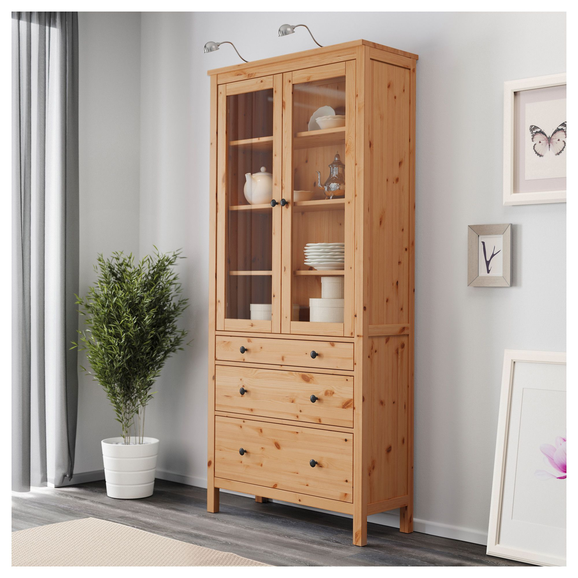 Ikea Hemnes Glass Door Cabinet With 3 Drawers Solid Wood Has A Natural Feel