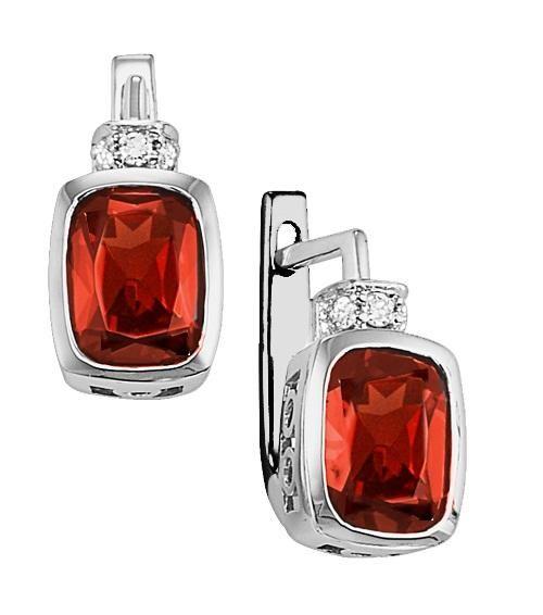 Garnet and Diamond Earrings in 10K White Gold $640.00