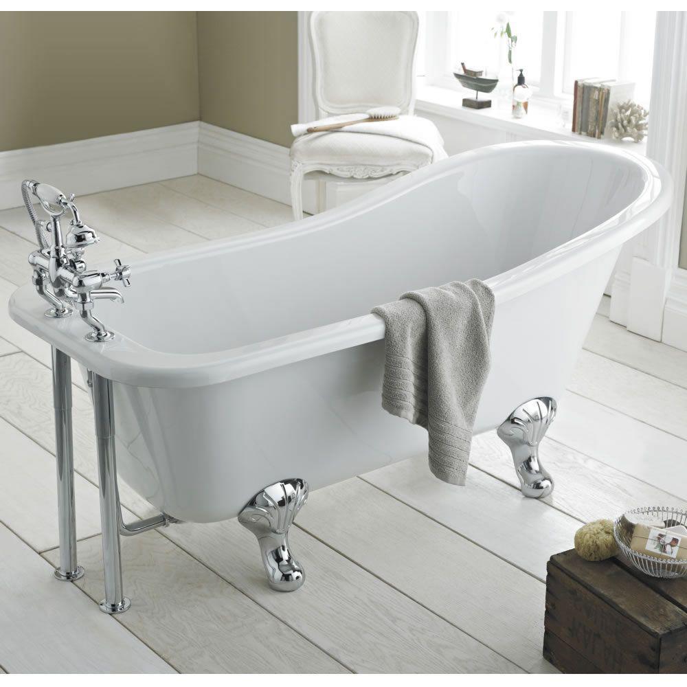 Freistehende badewanne klassisch kensington mit füßen oval 1700 x 730mm