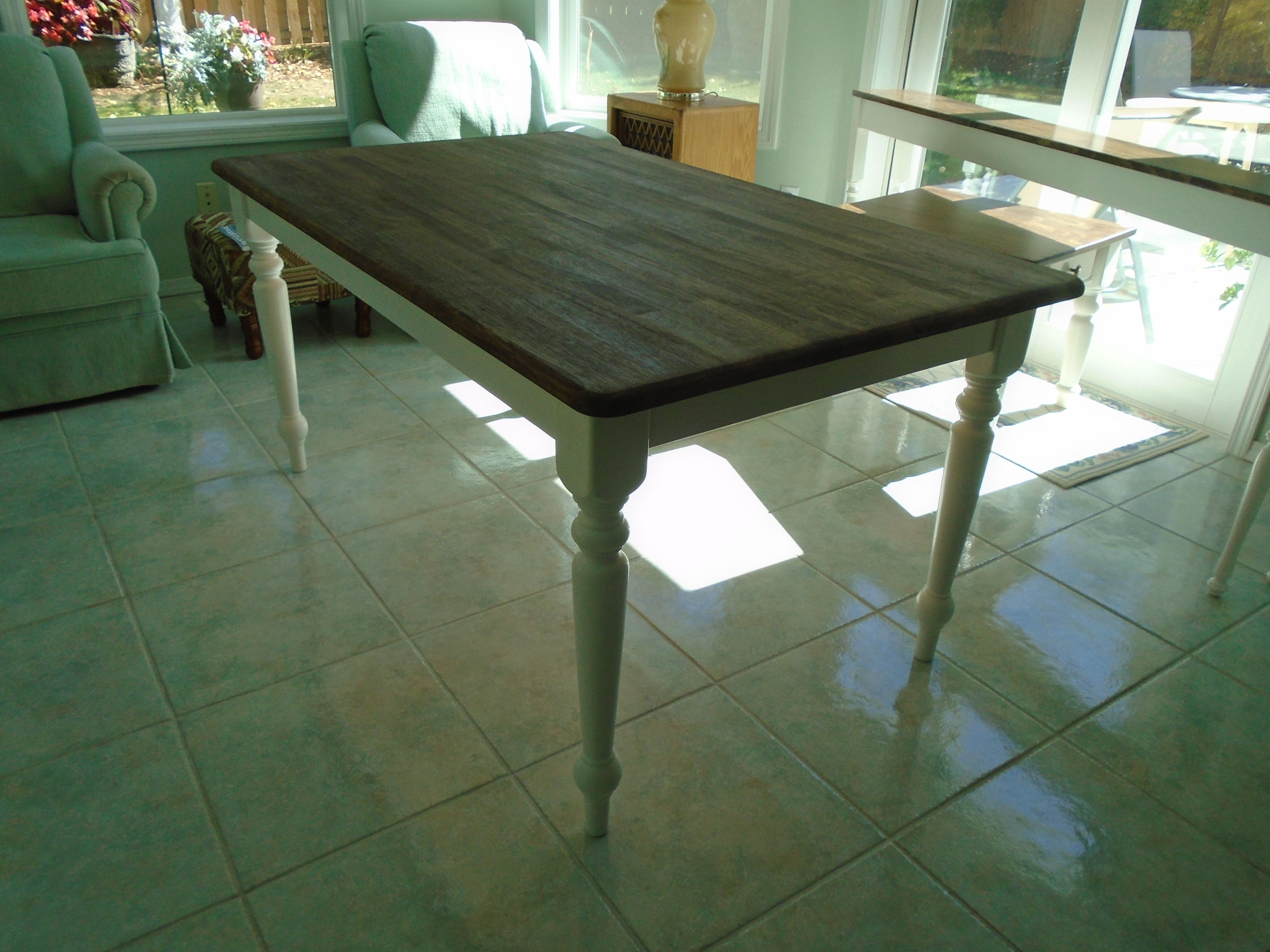 Rustic farmhouse table brown stained top white painted for Farm table legs diy