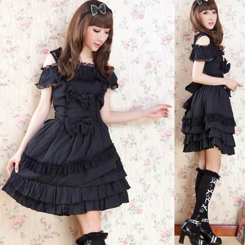 Black Off the Shoulder Knee Length Layer Gothic Lolita Party Dresses SKU-11402666