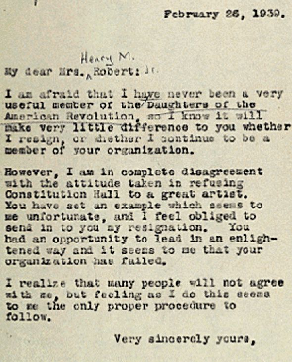 Eleanor Roosevelt Resigned From The Daughters Of The American