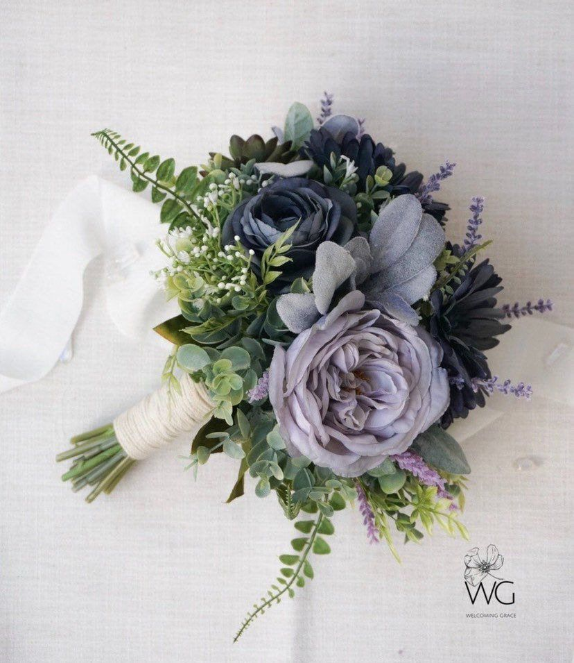 Blue And Purple Floral Bouquet Dusty Blue And Lavender Grey Bouquet Slate Blue Bouqu Blue Flowers Bouquet Blue Wedding Flowers Purple Wedding Flowers Bouquet