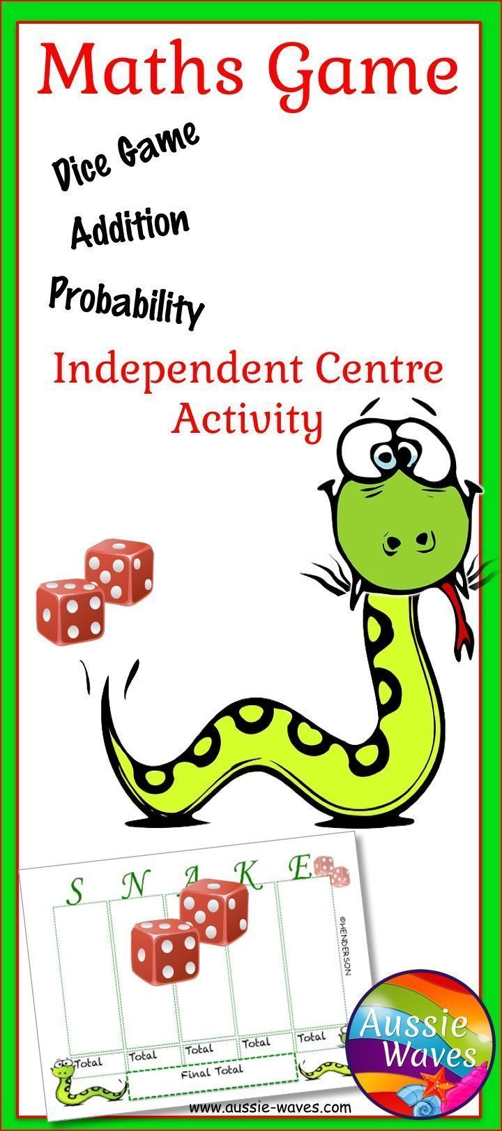 Elementary Math Game Play SNAKE for ADDITION