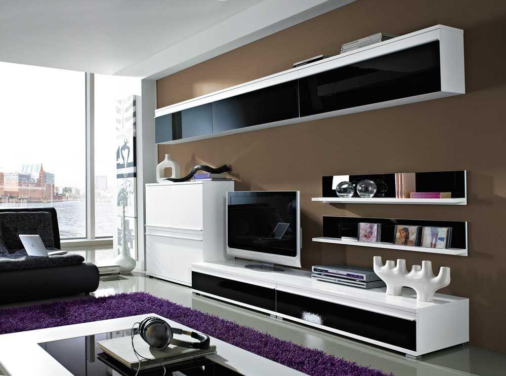 TV Wand in schwarz-weiß Glasfronten (8-teilig) Jetzt bestellen unter - wohnzimmer design schwarz